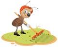 Ant gardener con el rastrillo Imágenes de archivo libres de regalías