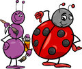 Ant and ladybug cartoon illustration of insects characters Royalty Free Stock Image