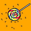 Ant and lollipop swarm Royalty Free Stock Image