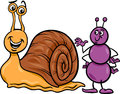 Ant and snail cartoon illustration of insect characters Stock Image