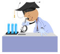 Ant teacher looks through microscope Royalty Free Stock Photo