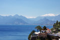 Antalya turkey view of peak olympos and landscape of the coast of Stock Photo
