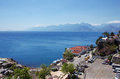 Antalya turkey view of peak olympos and landscape of the coast and port of Stock Photography
