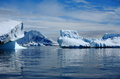 Antarctica icebergs blue with clouds in sunny day Stock Photo