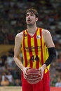 Ante tomic of fcb in action at spanish acb basketball league match between joventut badalona and fc barcelona final score on may Stock Photos