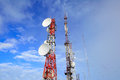 Antena tower on blue sky Royalty Free Stock Photo
