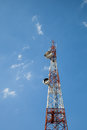 Antena tower on blue sky thailand Royalty Free Stock Photo