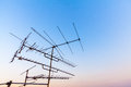 Antenna in blue sky tv broadband Stock Photo