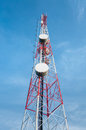 Antenna of communication building and blue sky Stock Image