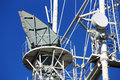Antenna on the mast band horn and parabolic of a radio relay communication line Stock Photo