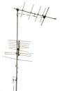 Antenna takes television signal and white background Royalty Free Stock Images