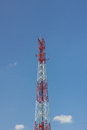 Antenna tower of communication in background of blue sky Stock Photo