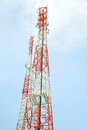 Antenna tower of communication for mobile wireless Royalty Free Stock Photos