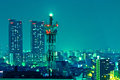 Antenna tower at night Royalty Free Stock Photo