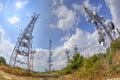 Antenna towers in fisheye perspective