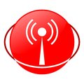 Antenna vector illustration, Red icon