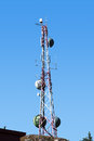 Antennas antenna reception on a blue sky Stock Photos