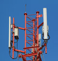 Antennas of cellular Base station systems Royalty Free Stock Photo