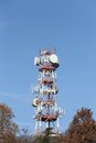 Antennas and radar for television broadcasts towers the signals of mobile phones Stock Image