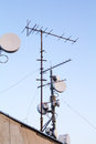 Antennas radio television and gsm Stock Photos
