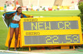 Anthonique strachan bahamas celebrating his record counter th world junior athletics championships olympic stadium july barcelona Stock Image