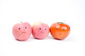 Anthropomorphic vegetables and fruits fruits:a tomato two apples Stock Photography