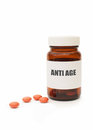 Anti aging pills medicine jar with Stock Image