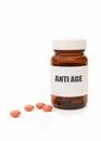 Anti aging pills medicine jar with Stock Image