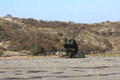 Anti air missile system on parking lot a nasam defense placed a in the dunes near the hague the netherlands these rockets are used Stock Image