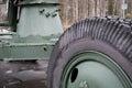 Anti-aircraft gun on the road of life. Wheel closeup. World war 2