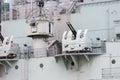Anti aircraft guns at HMS Belfast battleship in London, the UK Royalty Free Stock Photo