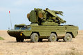 Anti aircraft missile system cape chauda crimea ukraine october self propelled osa akm moves to the fighting position Stock Image