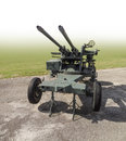 Anti aircraft warfare sunny illuminated historic partly isolated in gradient back Royalty Free Stock Photography
