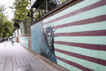 Anti american mural on on former usa embassy wall photoed by the outside of in tehran iran there are some america the Royalty Free Stock Images