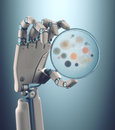 Anti contagion robot hand holding a petri dish with colonies of bacteria and fungi clipping path included Stock Photography