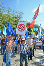 Anti fascism meeting in kiev ukraine may political against on may man carry the sign Stock Images