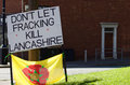 Anti fracking in lancashire sign a home made at the end of the protest preston Stock Photo