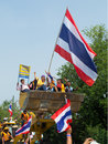 The anti government leader bangkok december for paraded around royal thai house by dozer on december in bangkok Royalty Free Stock Photo
