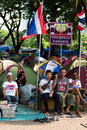 Anti government protesters demonstrators at lumpini park bangkok thailand on march Royalty Free Stock Photography