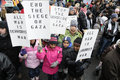 Anti israel occupation of gaza rally toronto january a small group unidentified kids holding banners and placards during a to Stock Photo