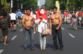 Anti korruption demonstration i indonesia Arkivbilder