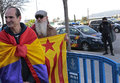 Anti monarchy protest in spain protesters wearing republican and flags outside the place where the daughter of king juan carlos of Royalty Free Stock Photo