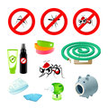 Anti mosquito care symbols repellents and devices Stock Photography