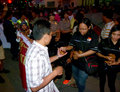 Anti narcotics campaign activists distributed the cake while doing in the city of solo central java indonesia Royalty Free Stock Photo