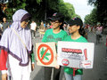 Anti narcotics campaign activists held in a public space in the city central java indonesia Stock Image