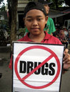 Anti narcotics campaign activists held in a public space in the city central java indonesia Royalty Free Stock Images