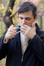 Anti smoking concept man lights a cigarette Royalty Free Stock Photos