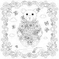 Anti stress abstract dog, butterflies, square flowering frame