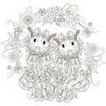 Anti stress cats pair, flowering frame