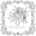 Anti stress flowers bouquet in the snickers, flowering frame hand drawn
